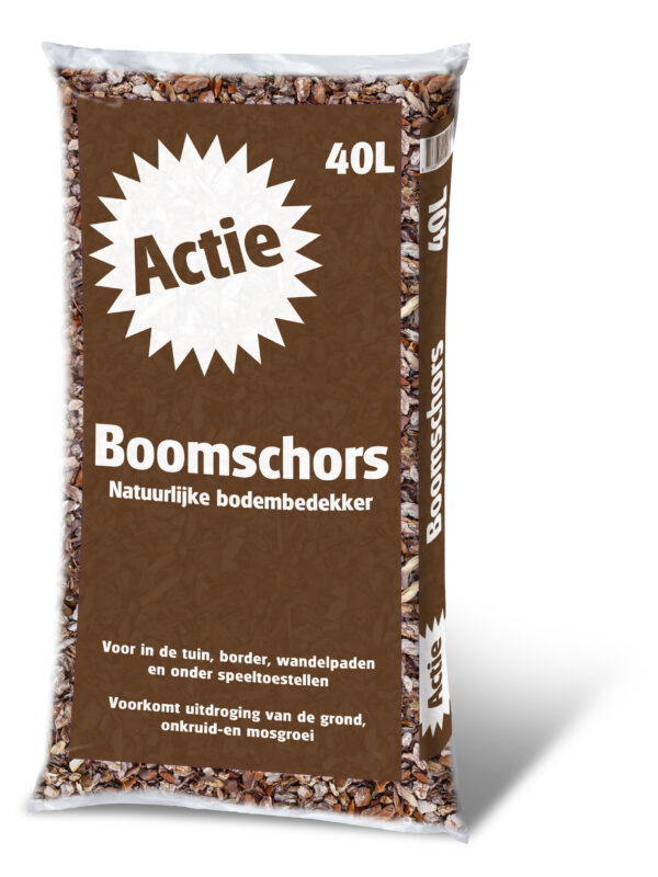 Actie Buxuskoning boomschors ,tegen onkruid, en houd de grond vochtig